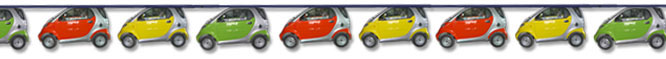 "Printed bunting die cut to shape to match ""smart car"" design"